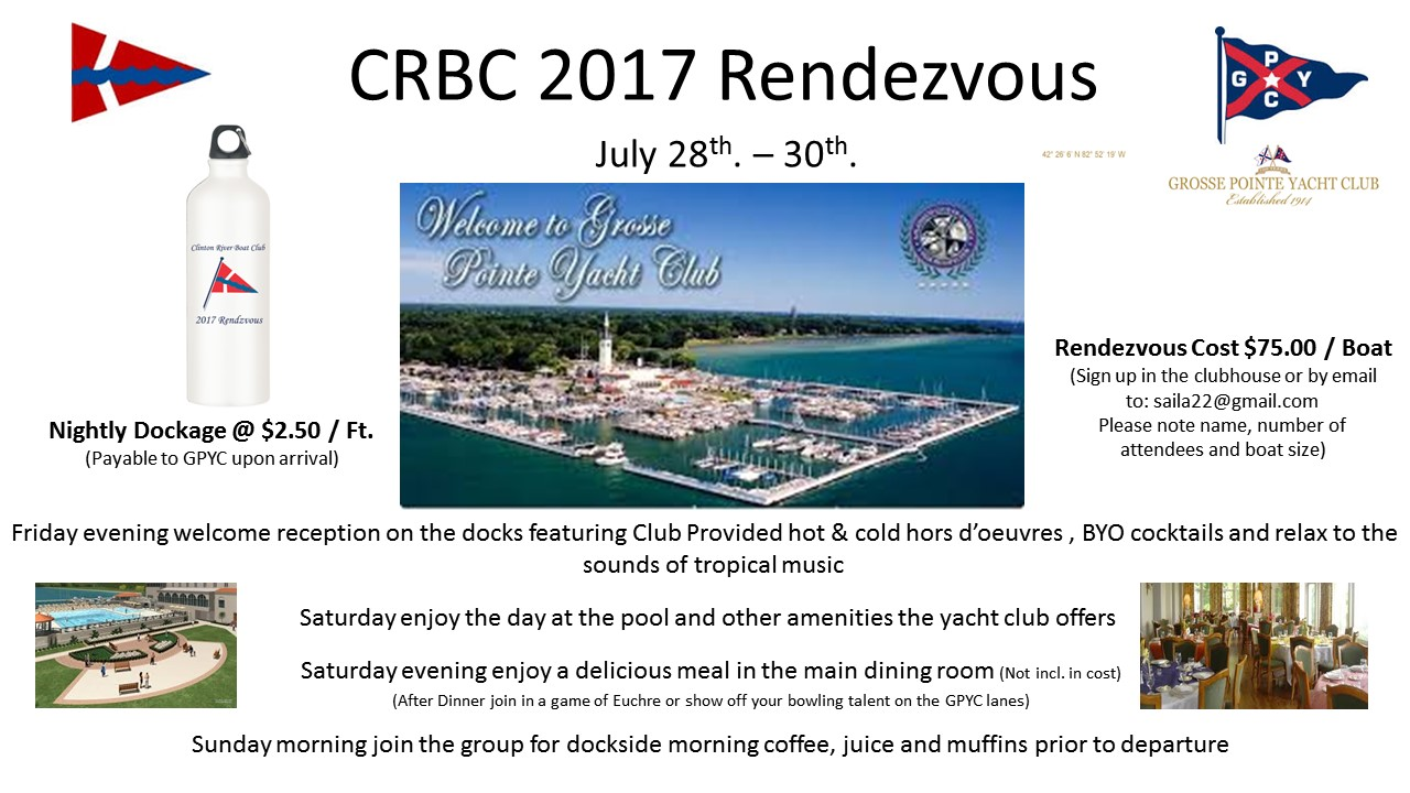 CRBC Rendezvous at the Grosse Pointe Yacht Club